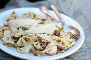 farfalle pasta pistachio pancetta feature
