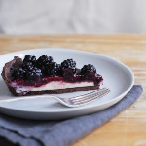 Mascarpone and blackberry chocolate tart