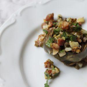 Carciofi ritti - stuffed stewed artichokes
