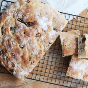 Date, fig and walnut focaccia