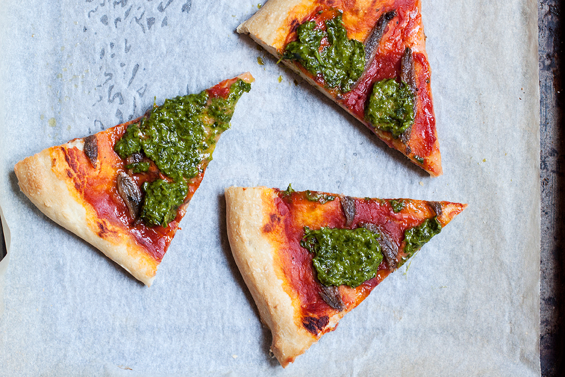 Pizza with salsa verde