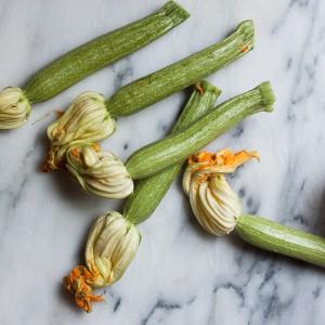 Zucchini and zucchini flower soup