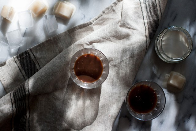 making caffe leccese with homemade almond milk ice cubes