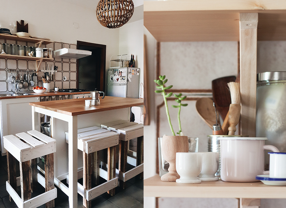 Kitchen after with handmade pallet stools, kitchen island and open shelves