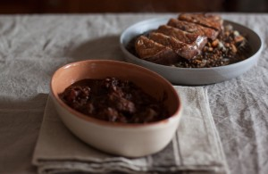 cinghiale and roast duck with lentils