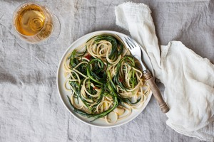spaghetti with monks beard or agretti
