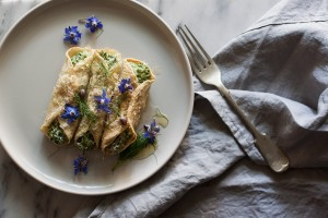 borage and ricotta crepes