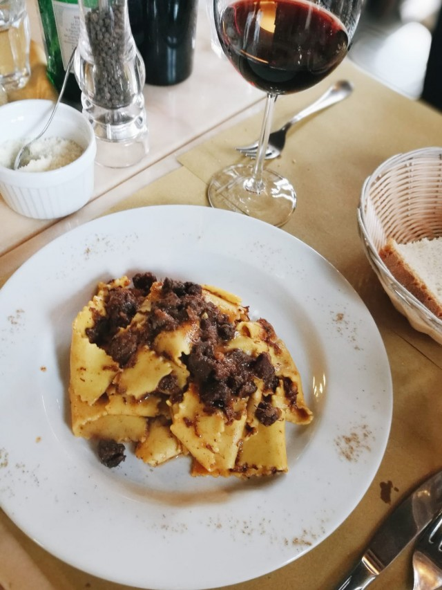 pappardelle at a local osteria