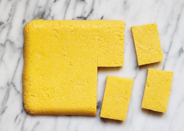 making polenta crostini