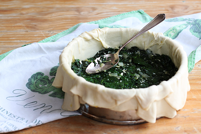 making torta pasqualina - silverbeet layer
