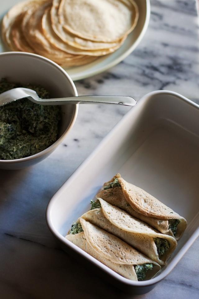 borage and ricotta crepes