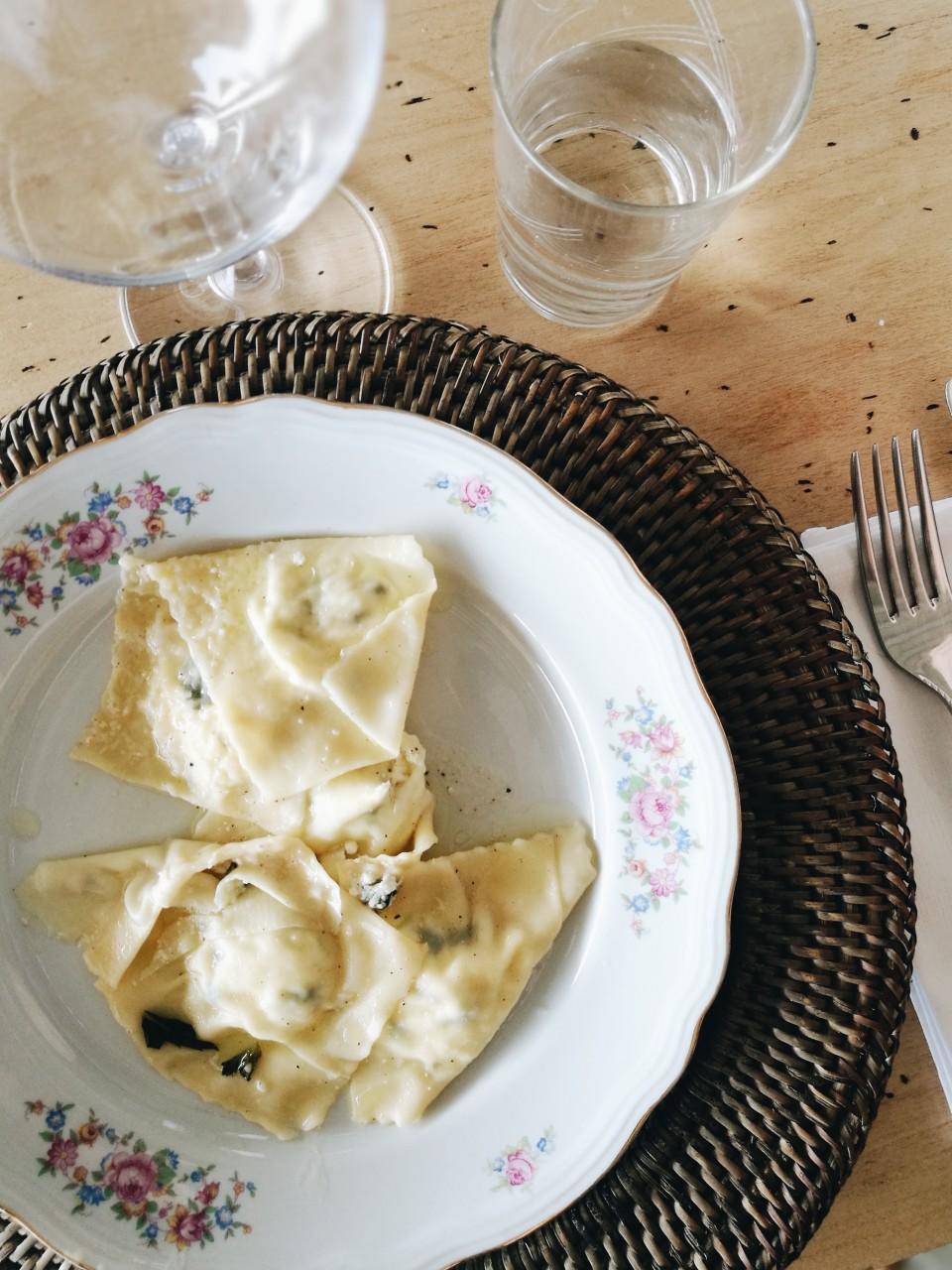 Ricotta, feta and mint ravioli