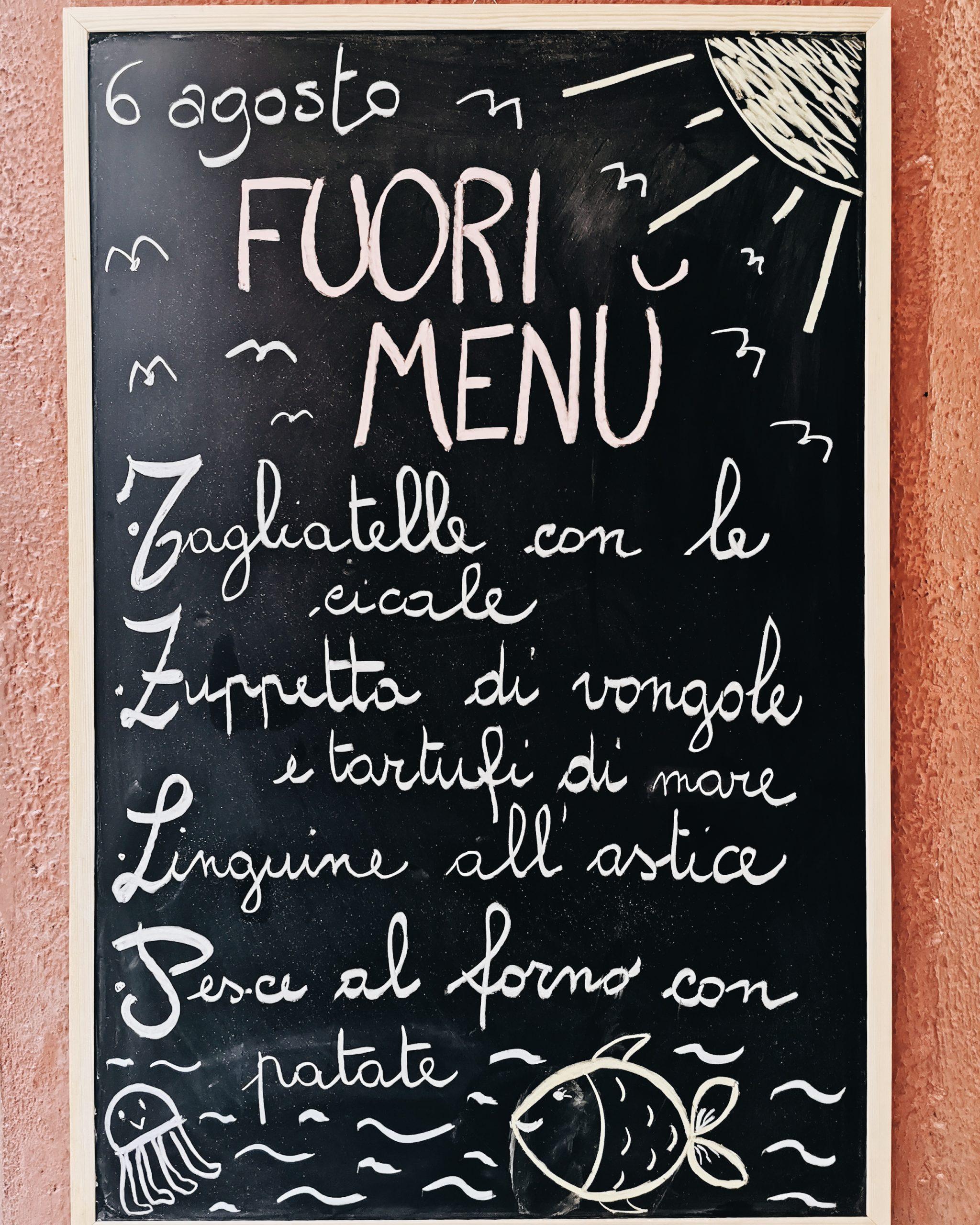 Gianni Franzi menu